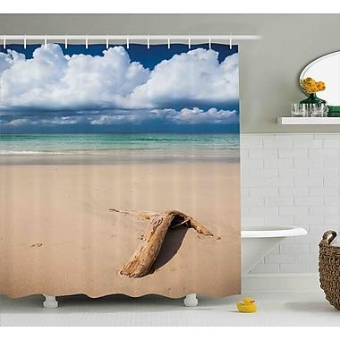 Deana Sea Theme Driftwood on The Sandy Beach and Cloudy Sky Digital Print Shower Curtain
