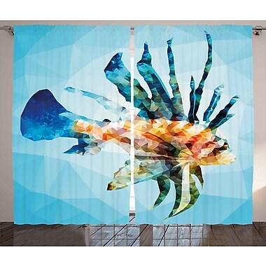 Valarie Fish Decor Graphic Print & Text Semi-Sheer Rod Pocket Curtain Panels (Set of 2)