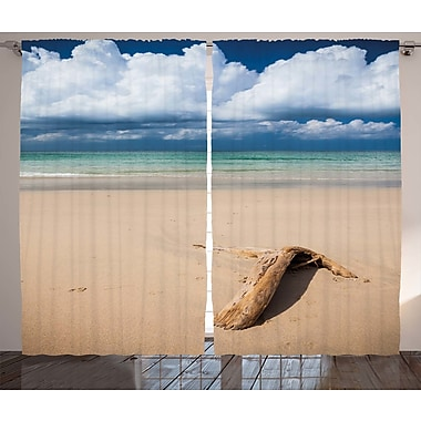 Earline Driftwood Decor Graphic Print & Text Semi-Sheer Rod Pocket Curtain Panels (Set of 2)