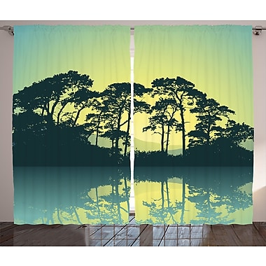 World Menagerie Wabe Graphic Print and Text Semi-Sheer Rod Pocket Curtain Panels (Set of 2)