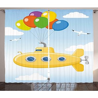Francesca Yellow Submarine Graphic Print & Text Semi-Sheer Rod Pocket Curtain Panels (Set of 2)
