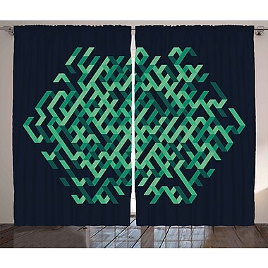 Latitude Run Bordner Modern Graphic Print and Text Semi-Sheer Rod Pocket Curtain Panels (Set of 2)