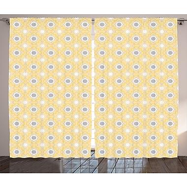 Langhorne Quatrefoil Graphic Print and Text Semi-Sheer Rod Pocket Curtain Panels (Set of 2)