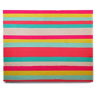 East Urban Home 'Girly Surf Stripes' Graphic Art Print on Wood; 11'' H x 14'' W x 1'' D