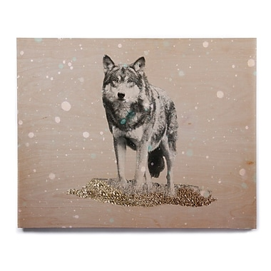 East Urban Home 'Wolf' Graphic Art Print on Wood; 12'' H x 12'' W x 1'' D