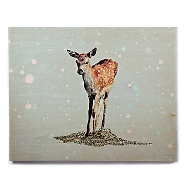 East Urban Home 'Fawn' Graphic Art Print on Wood; 11'' H x 14'' W x 1'' D