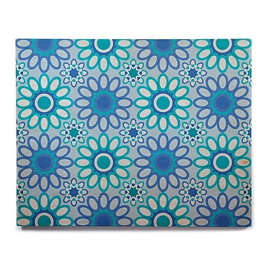 East Urban Home 'Blue Flowers Tile' Graphic Art Print on Wood; 8'' H x 10'' W x 1'' D