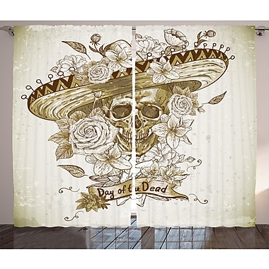 Annamaria Day Of The Dead Decor Graphic Print & Text Semi-Sheer Rod Pocket Curtain Panels (Set of 2)