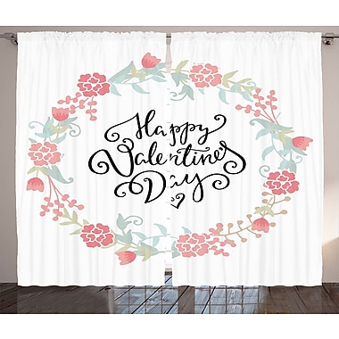 Latitude Run OdisGraphic Print and Text Semi-Sheer Rod Pocket Curtain Panels (Set of 2)