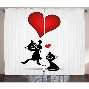 Abe Valentines Day Decor Graphic Print & Text Semi-Sheer Rod Pocket Curtain Panels (Set of 2)