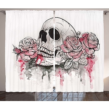 Bigby Day of The Dead Graphic Print and Text Semi-Sheer Rod Pocket Curtain Panels (Set of 2)