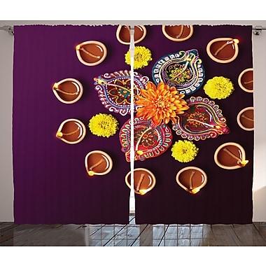 Snows Diwali Decor Graphic Print & Text Semi-Sheer Rod Pocket Curtain Panels (Set of 2)