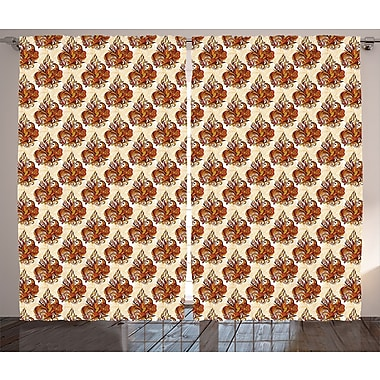 World Menagerie Vitavou Batik Graphic Print & Text Semi-Sheer Rod Pocket Curtain Panels (Set of 2)