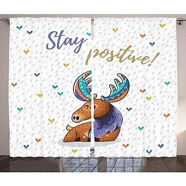 Zoomie Kids Claudine Moose Graphic Print & Text Semi-Sheer Rod Pocket Curtain Panels (Set of 2)