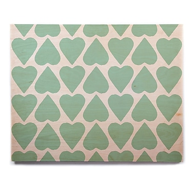 East Urban Home 'Mint Up and Down Hearts' Graphic Art Print on Wood; 12'' H x 12'' W x 1'' D