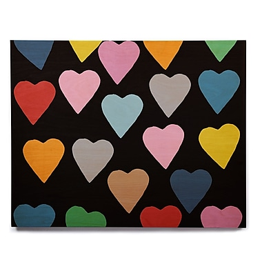 East Urban Home 'Hearts Colour on Black' Graphic Art Print on Wood; 11'' H x 14'' W x 1'' D