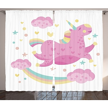 Harriet Bee Colleen Graphic Print & Text Semi-Sheer Rod pocket Curtain Panels (Set of 2)