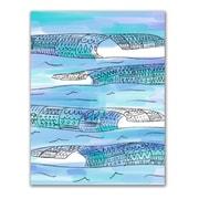Jetty Home 'Tribal Watercolor Blue Ocean Waves' Drawing Print