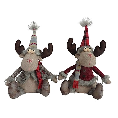 Red Barrel Studio 2 Piece Seated Country Moose Stuffed Holiday Accent Set