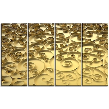 DesignArt '3D Golden Curly Background' Graphic Art Print Multi-Piece Image on Canvas