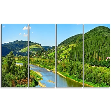 DesignArt 'Green Mountains and River' Photographic Print Multi-Piece Image on Canvas