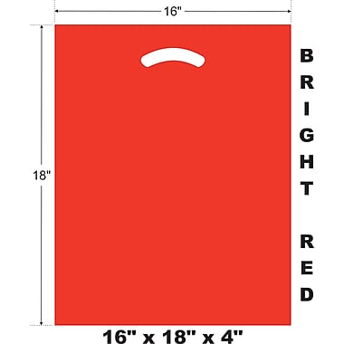 Marlo Packaging 16 x 18 x 4 Red D/C Bag, Biodegradable, 500/Pack