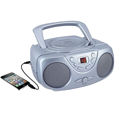 Sylvania Portable CD Player with AM/FM Radio Silver (SRCD243M-SILVER)