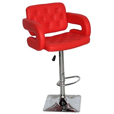 Brayden Studio Epperson Adjustable Height Swivel Bar Stool; Red