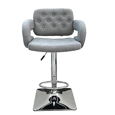 Brayden Studio Epperson Adjustable Height Swivel Bar Stool; Grey