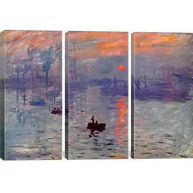 Darby Home Co Sunrise Impression by Claude Monet 3 Piece Painting Print on Wrapped Canvas Set