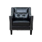 Latitude Run Pepperell Faux Leather Club Chair; Black