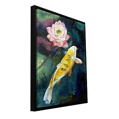 ArtWall 'Koi and Lotus Flower' by Michael Creese Framed Painting Print on Wrapped Canvas