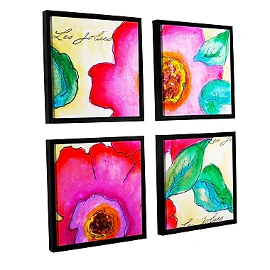 Latitude Run Les Jolies 1 4 Piece Framed Painting Print Set; 36'' H x 36'' W x 2'' D