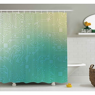 Adonia Abstract Technology Pattern Motherboard Image Background Vector Graphics Shower Curtain