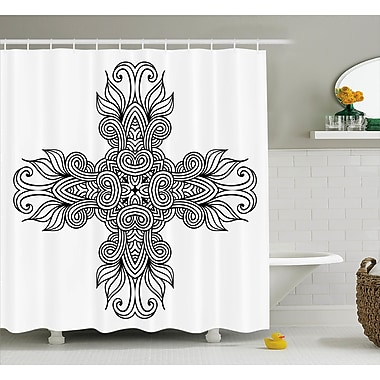 Ragnar Royal Old Knot Pattern w/ Curled Lace Leaf Figures Renaissance Times Decor Shower Curtain