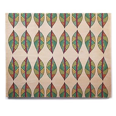 East Urban Home 'Tribal Leaves' Graphic Art Print on Wood; 11'' H x 14'' W x 1'' D