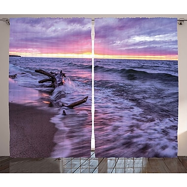 Haley Driftwood Decor Graphic Print & Text Semi-Sheer Rod Pocket Curtain Panels (Set of 2)