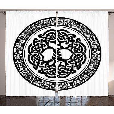 Bramblett Celtic Decor Graphic Print & Text Semi-Sheer Rod Pocket Curtain Panels (Set of 2)