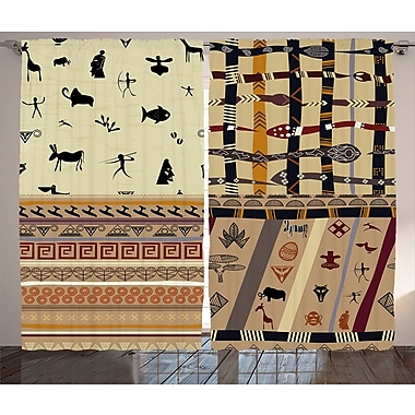 Yepez Primitive Decor Graphic Print & Text Semi-Sheer Rod Pocket Curtain Panels (Set of 2)