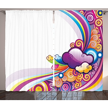 Zoomie Kids Ernestine Cartoon Graphic Print & Text Semi-Sheer Rod Pocket Curtain Panels (Set of 2)