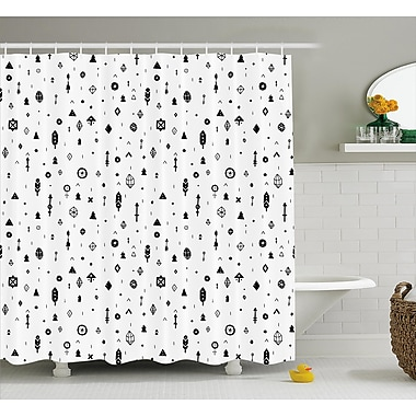 Kristy Tribal Plain Background w/ Arrows Feathers and Aztec Style Geometric Print Shower Curtain