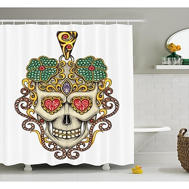 Zinnia Day of The Dead Sugar Skull w/ Heart Pendants and Floral Jewelry Print Shower Curtain
