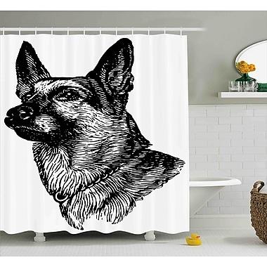 Karen Pencil Sketchy Image of Dogs Human Best Friend Guardian Police Animal Artwork Shower Curtain