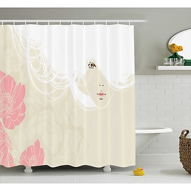 Paula Pastel Portrait of a Woman w/ Soft Digital Flowers Bridal Romantic Art Image Shower Curtain