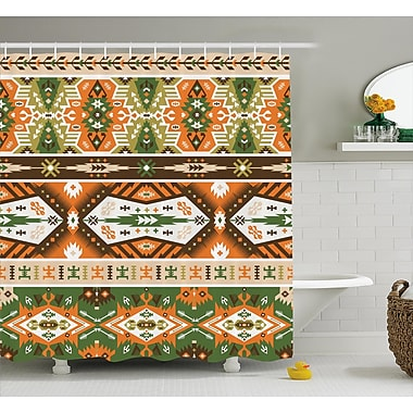 Jeannette Tribal Vector Design w/ Tattoo Aztec Mayan Style Stripes Shapes Print Shower Curtain