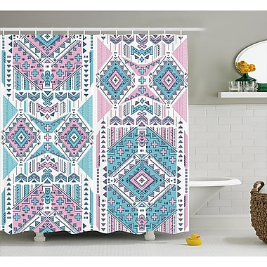 Sheri Tribal Geometric Bohemian Indian Aztec Design Vintage Stylized Pastel Colors Shower Curtain