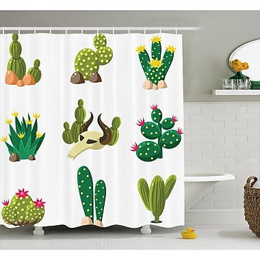 Pat Mexican South Desert Animals Cactus Plants Skeletons Flowers Cartoon Image Shower Curtain