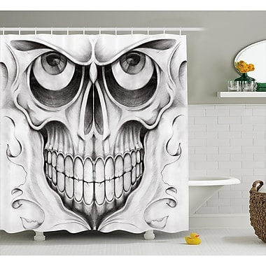 Shawna Day of The Dead Scary Skull Face Angry Expression Festive Art Image Shower Curtain