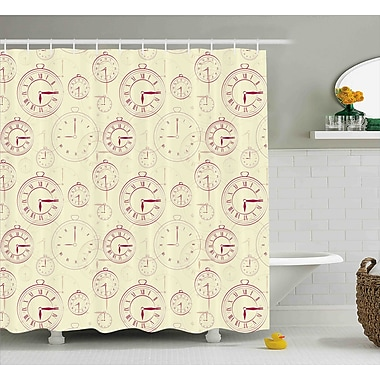 Polly Vintage Watches w/ Roman Digits Wallpaper Pattern Decorative Illustration Shower Curtain