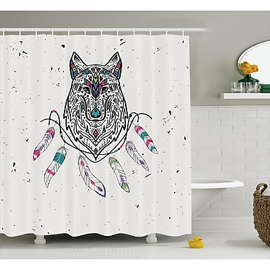 Shelly Tribal Wild and Free Inspirational Art Indian Wolf w/ Boho Feathers Print Shower Curtain